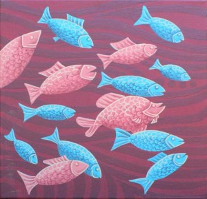 Blue & Red Fish